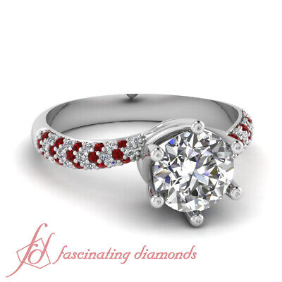 1.20 Carat Round Cut Diamond And Ruby Swirl Style Engagement Ring Pave Set GIA