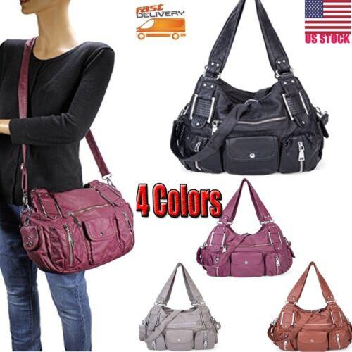 Bag - Women Ladies Washed Leather Tote Purse Handbag Crossbody Messenger Shoulder Bag