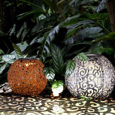 2x LED solar ball plug-in lamp garden outdoor decoration earth spike patio light