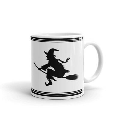 Witch Silhouette in Black Halloween Coffee Tea Ceramic Mug Office Work Cup - Halloween Witch Silhouette