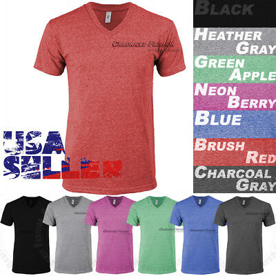 Tri Blend V Neck T Shirt Short Sleeve Slim Fit Casual Plain Tee Shirts Top Mens
