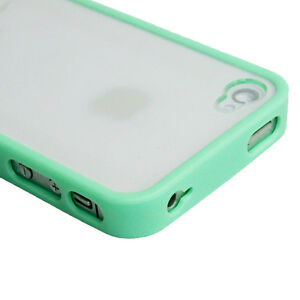 TPU Silicone Bumper Frame Clear Hard Back Case Cover Skin for iPhone 4 G 4Gs 4S