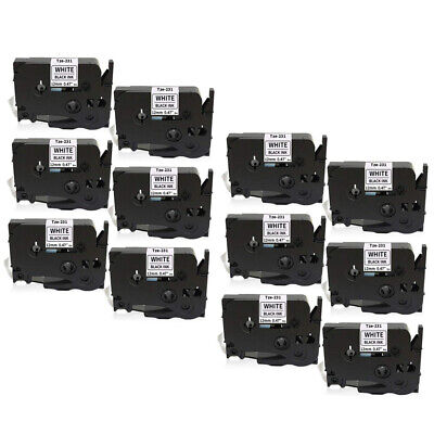12pk Compatible Label Maker Tape 12mm For Brother P-touch Tz-231 Tze-231 Tze 231