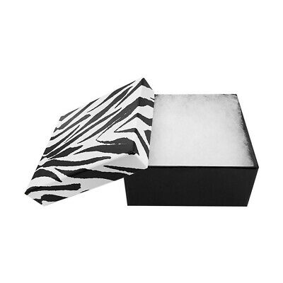 100 Pc Zebra Jewelry Gift Boxes Cotton Filled Batting 3-34 X 3-34