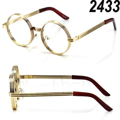 Mens Womens Steampunk Clear Lens Glasses Metal Yellow Gold Frame Retro Vintage
