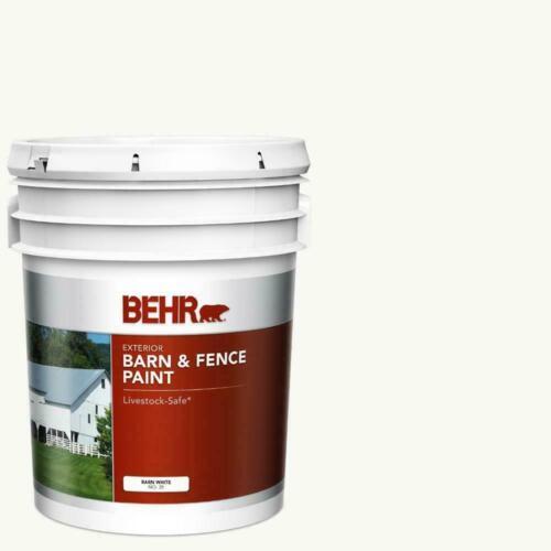 Fence Paint 5 Gallon White Exterior Barn Livestock-Safe Blistering Resistant