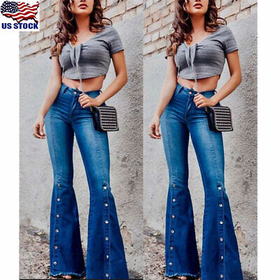 Flared Leg Jeans Pants - Women's Denim Flared High Waist Wide Leg Pants Ladies Bell Bottom Jeans Trousers