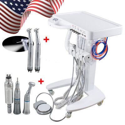 Portable Dental Delivery Cart Unit System 4 Hole 3 Way Syringe Led Handpiece Set