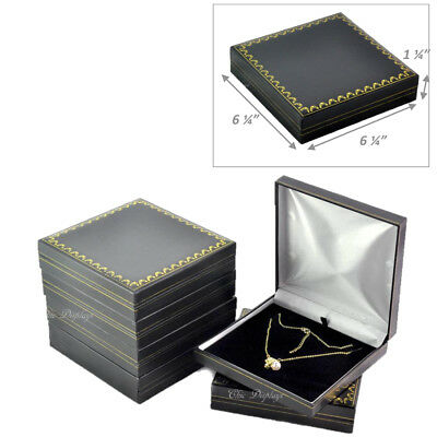 Lot Of 6 Classic Black Leatherette Necklace Gift Box Large Jewelry Box Deal