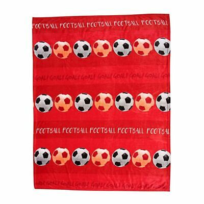 FOOTBALL FLEECE BLANKET THROW KIDS SOFT HIGH QUALITY - RED
