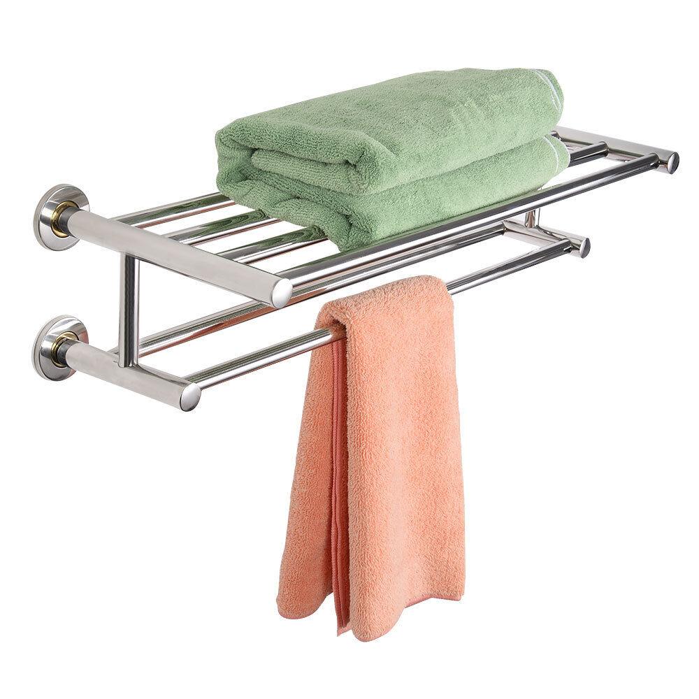 double towel rail holder wall mounted bathroom rack shelf. Black Bedroom Furniture Sets. Home Design Ideas