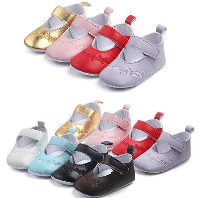 Newborn Baby Girl Sole Leather Crib Shoes Anti-slip Sneaker Prewalker 0-12M Nice