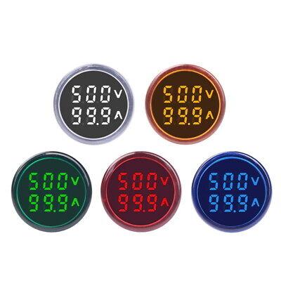 Round Digital Led Panel Mount Ac 60500v 100a Voltmeter Ammeter Dual Display