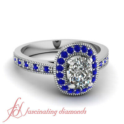 1.10 Ct Cushion Cut:Very Good Diamond & Blue Sapphire Halo Engagement Ring GIA