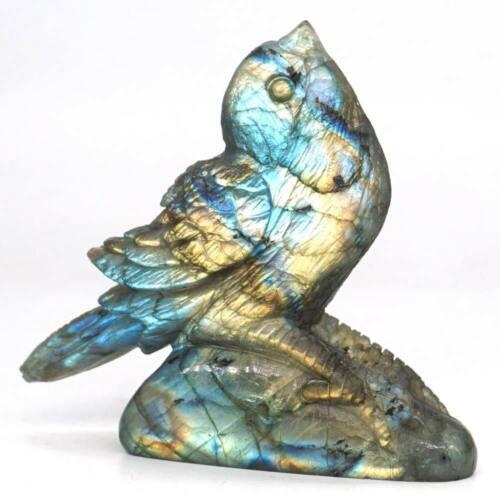 "Sparrow Statue Natural Labradorite Animal Totem Stone Sculpture Home Decor 2.75"""