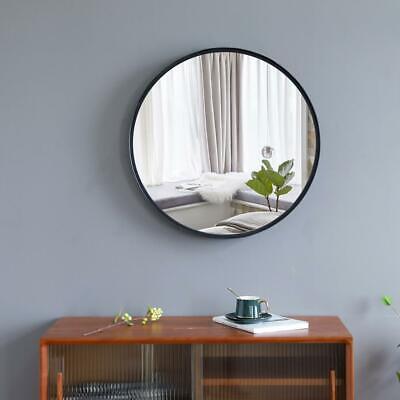 Wall-Mounted Mirror Circle Mirror Round Mirror Bedroom Bathroom (Black 24Inch)