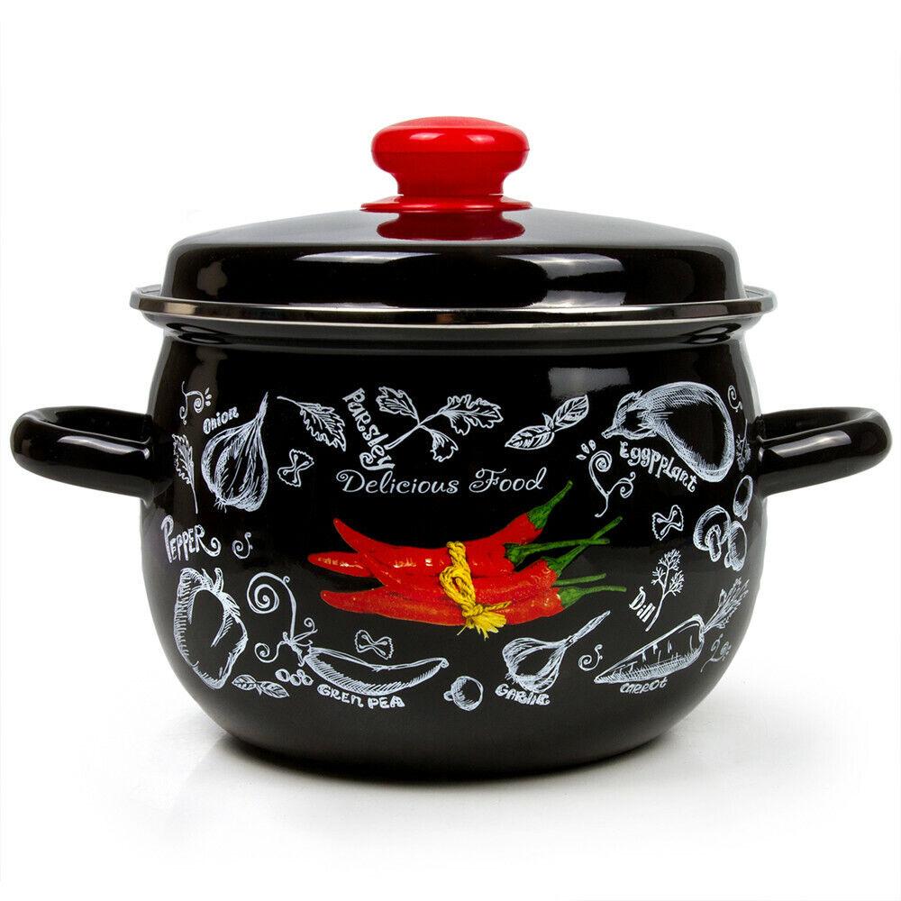Black Enameled Stock Pot with Lid. Durable Enamelware Soup P