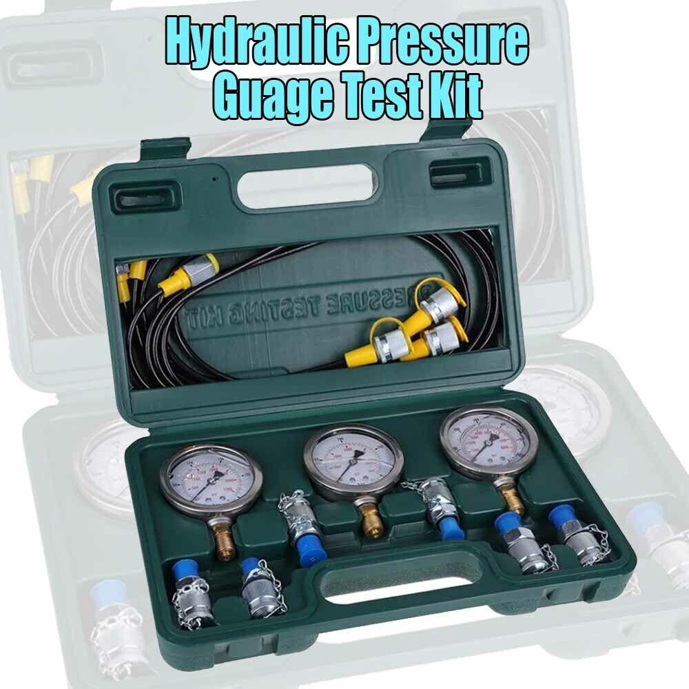 Hydraulic Pressure Guage Test Kit Excavator With Testing Hos