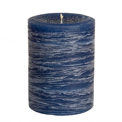 Navy Blue Pillar Candle - Rustic 3x4