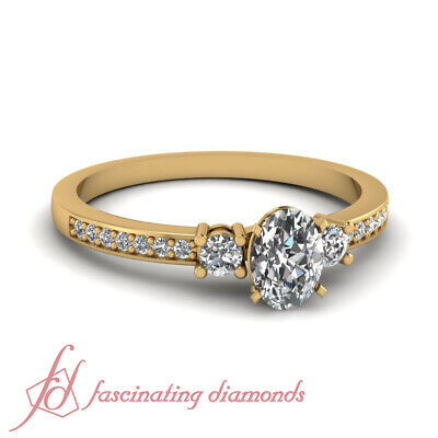 GIA Certified Oval Shaped VS1 Diamond Trinity Engagement Ring Pave Set 0.65 Ct
