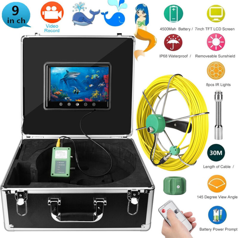 """9""""LCD 30M Pipe Inspection 1000 TVL Video Camera LED Waterproof Drain Pipe Sewer"""