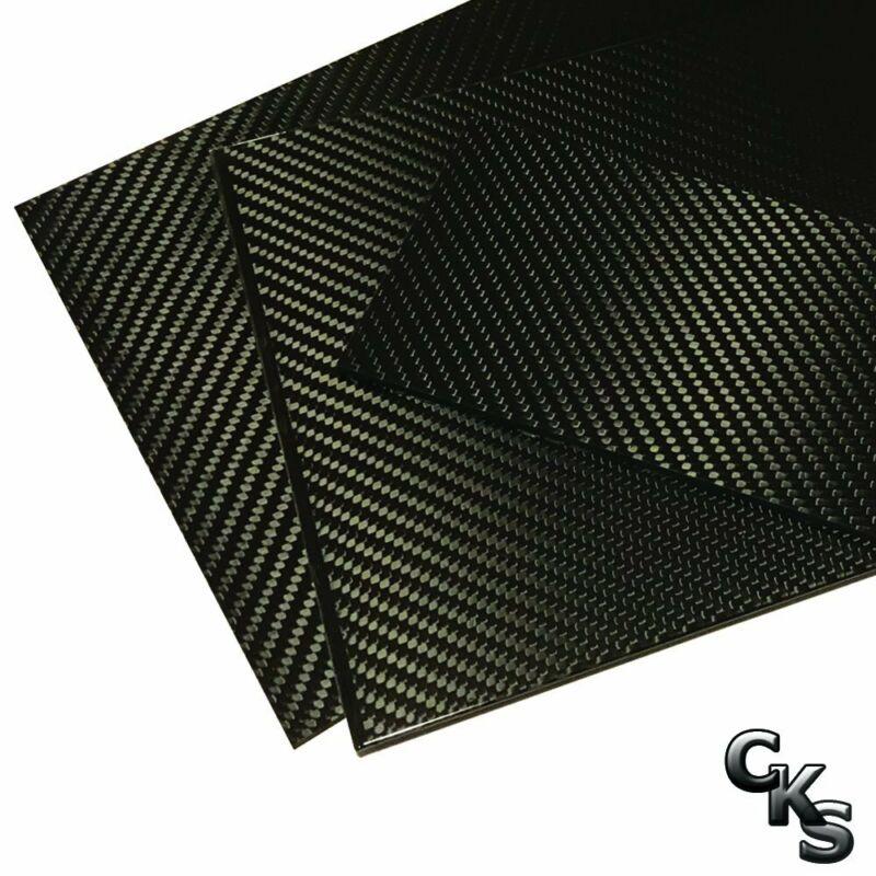(2) Carbon Fiber Plates - 200mm x 300mm x 3mm Thick - 100% -3K Tow, Plain...