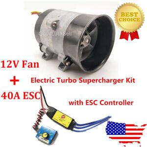 12V Car Electric Turbo Supercharger Kit Air Intake Fan Boost Thick Wire w/ESC US