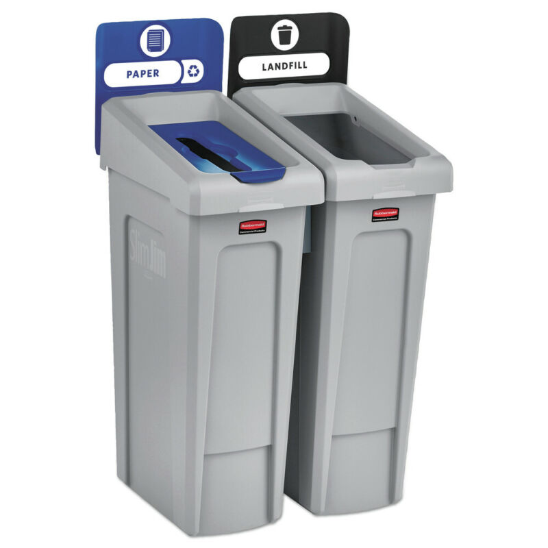 Rubbermaid Commercial 2007915 Slim Jim 46 Gal. 2Stream RecyclingStation Kit New