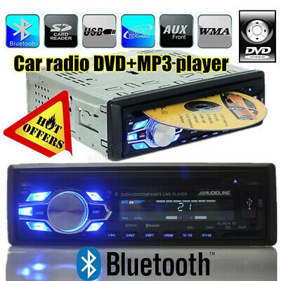 1 Din Autoradio DVD CD MP3 Lecteur In-dash Bluetooth 12V USB/AUX/SD FM Stéréo