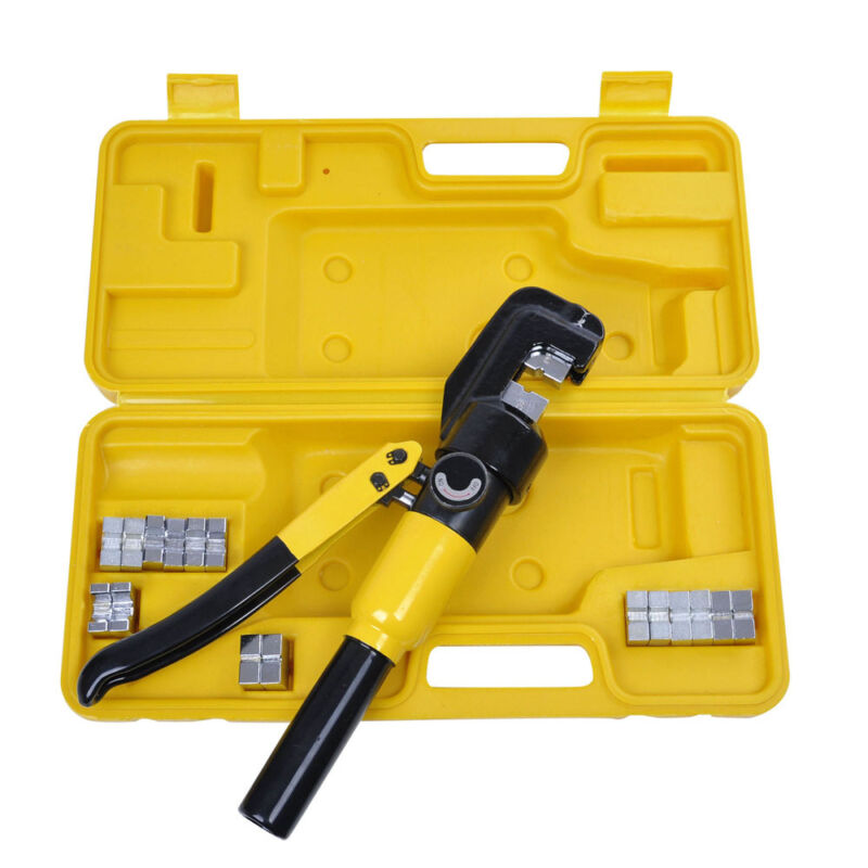 10 Ton Hydraulic Wire Battery Cable Lug Terminal Crimper Crimping Tool & 9 Dies