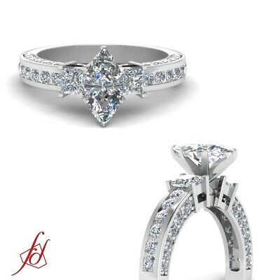 2.20 Ct Marquise Cut Diamond 3 Stone Engagement Ring 14K Gold SI2-F Color GIA