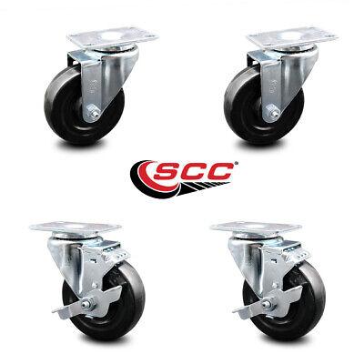 Hard Rubber Swivel Caster Set Of 4 W4 Wheels - 2 Wbrakes