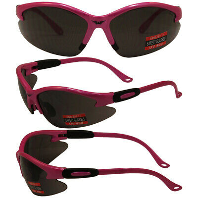 3 COUGAR WOMENS SAFETY GLASSES HOT PINK FRAME SHATTERPROOF SMOKE (Hot Pink Safety Glasses)