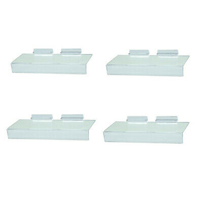 Slatwall Clear Acrylic Shoe Shelf 4 X 10 Sign Holding Slot - 4 Pc
