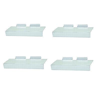 Slatwall Clear Acrylic Shoe Shelf 4 X 10 Sign Holding Slot - 4 Pc