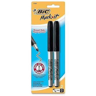 Bic Mark-It Fine Point Permanent Marker, Black 2 ea