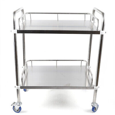 Stainless Steel 2-layer Lab Carts Hospital Serving Trolley Stand Storage Cart Us