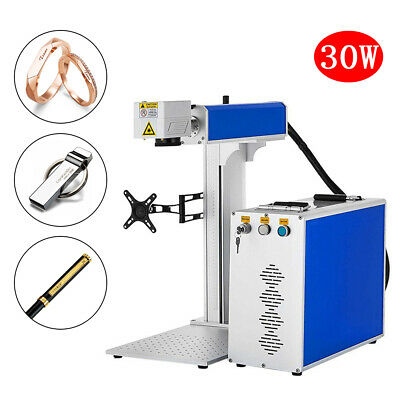 30w Cnc Fiber Laser Marking Machine Rotary Axis Metal Engraver Marker 77 110v