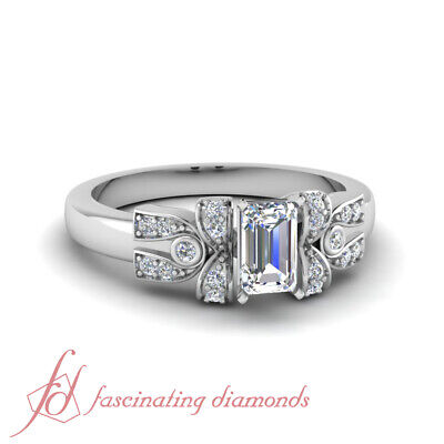 .75 Carat Emerald Cut Diamond Antique Looking Pave Engagement Ring In -