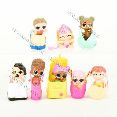 8 Pcs LOL Surprise Dolls Figures Set Little Sis Baby Secret Agent Sister w/Purse