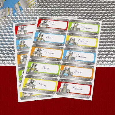 20 x Robot Heroes Name Stickers Boys Birthday Party Supplies Tags Game Robot Birthday Party Supplies