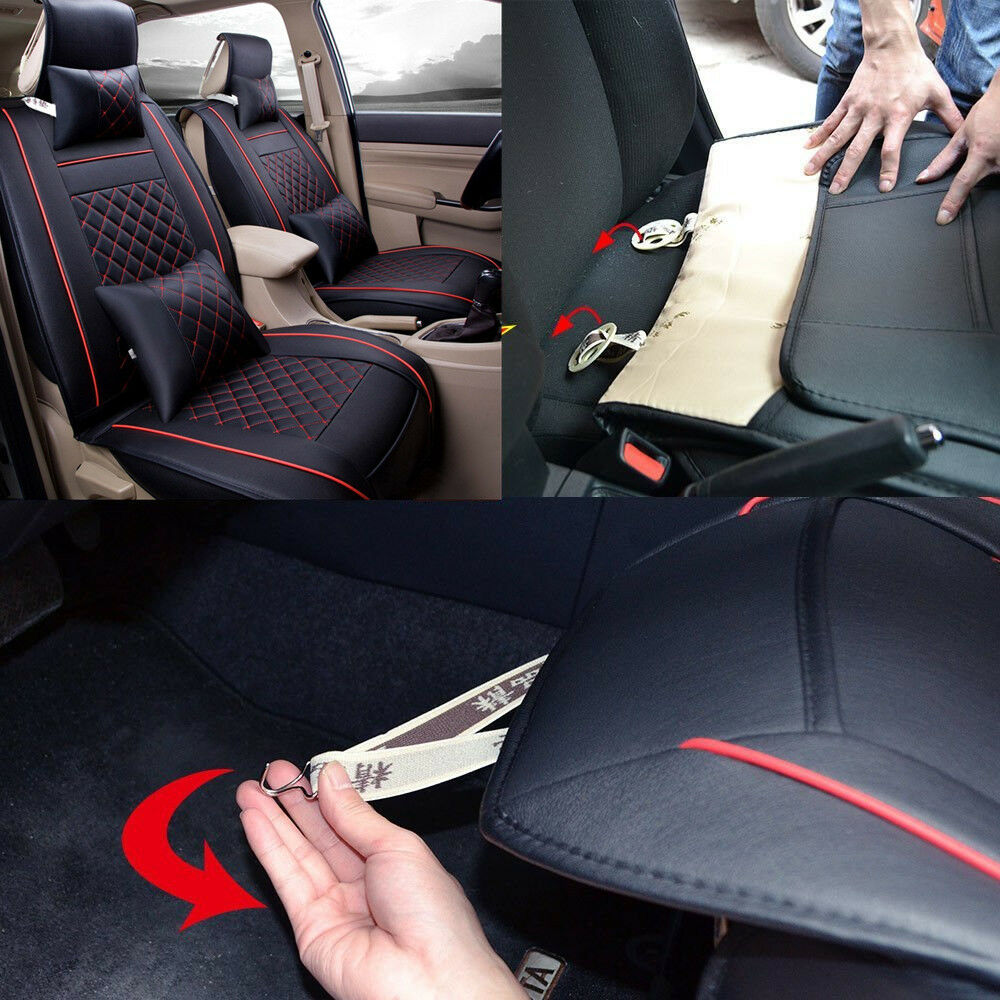 Deluxe Black Car Front Seat Covers Cushion Red Stitching PU Leather w/ 4 Pillows