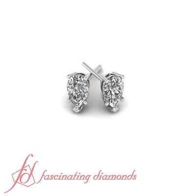 1 Ct Pear Shape Five Prong Diamond Solitaire Stud Earrings GIA Certified 14K NEW