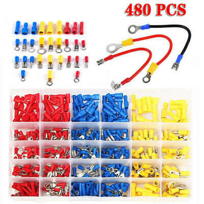 480x Electrical Cable Wire Connectors Assorted Insulated Crimp Terminal Spade UF