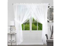 🆕Delicate white sheer voile curtain. Ready made, patio French doors. Firany new