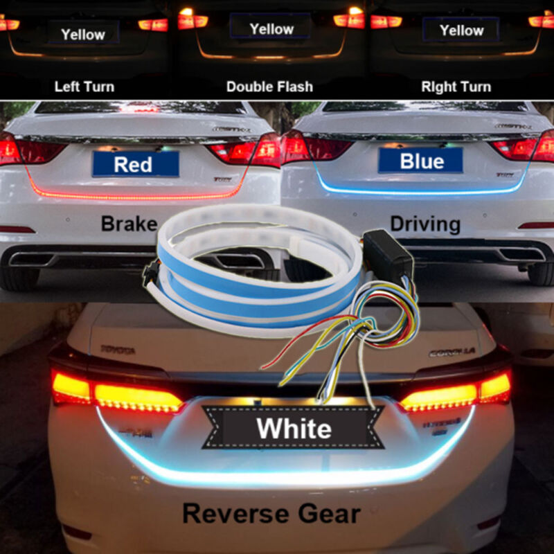 4 Color Flow Type LED Car Tailgate Strip Brake Driving Turn Signal ...