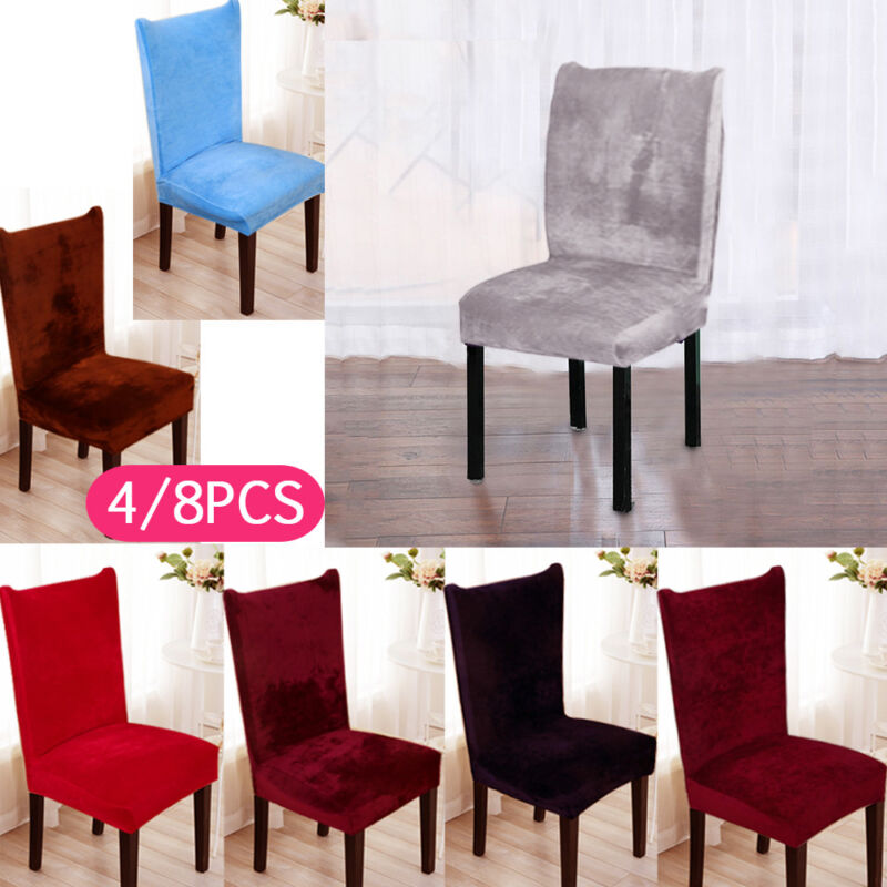 UK 4//8X Large Velvet Fox Piles Chair Covers Stretch Removable Dining Room Party