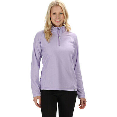 Regatta Womens Montes Half Zip Lightweight Mini Stripe Fleece Top Purple Sports