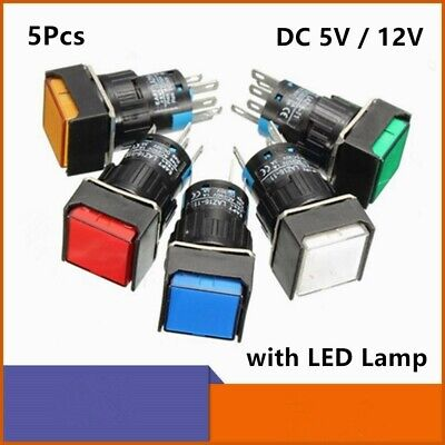 16mm Square Momentary Push Button Switch Maintain Led Lamp 5 Pins 5v 12v