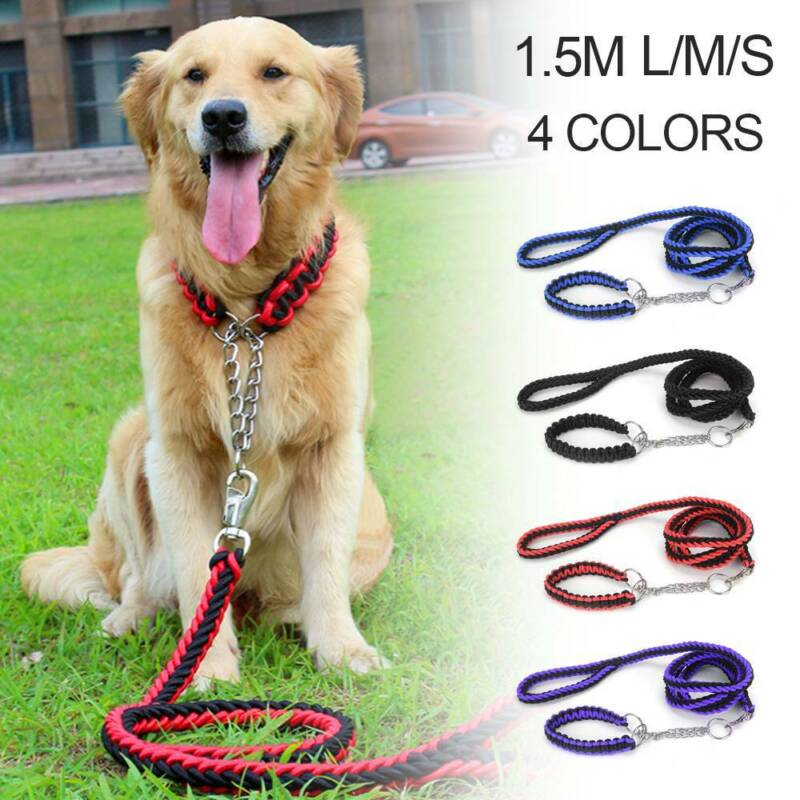 Dog Leads Pet Leash with Dogs Chain Coupler Splitter Strong Harness Puppy Collar